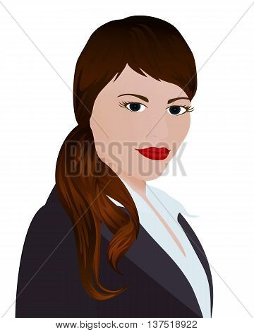 Portrait of a businesswoman .Woman standing in a black business suit. Vector illustration isolated on white background. Vertical location.
