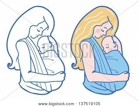 Vector Babywearing Illustration With Mother Hugging Baby In a Sling. Color and Drawing set. Simple lineart style. Perfect for blog posts, cards, print articles.