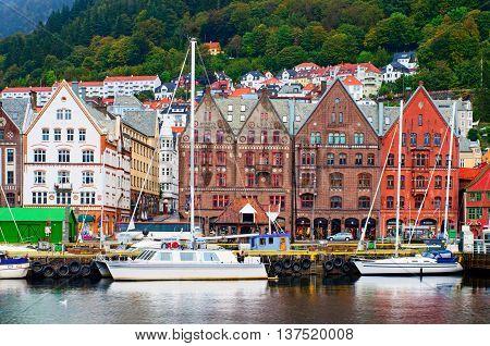 Historical Buildings On The Street In Bergen,norway