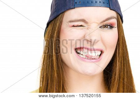 Attractive Girl Chewing Gum.