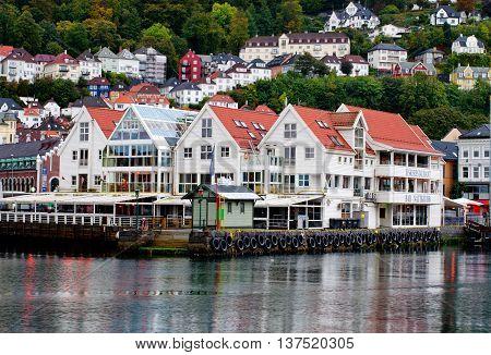 Historical Buildings On The Street In Bergen , Norway