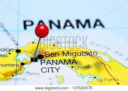 Panama City pinned on a map of Panama