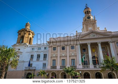 Old city hall of the city of Cadiz Spain
