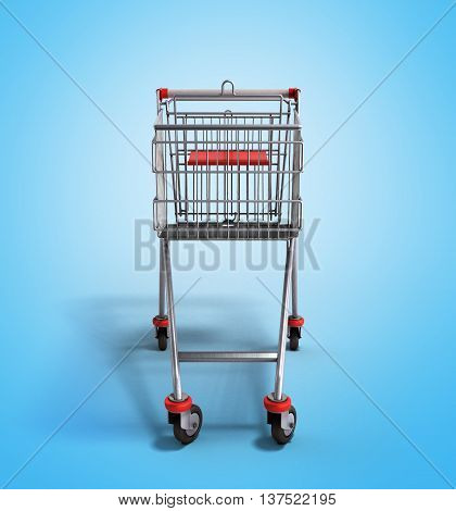 Empty Trolley From The Supermarket In Front 3D Render On Gradient Background
