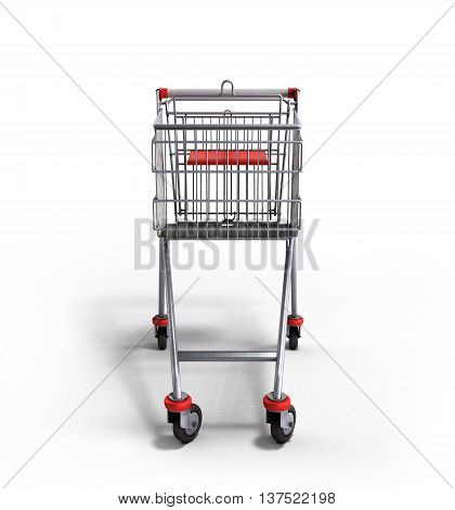 Empty Trolley From The Supermarket In Front 3D Render On White Background