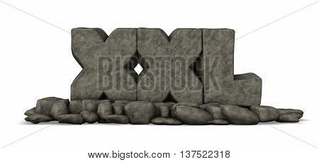 stone letters xxl on white background - 3d rendering