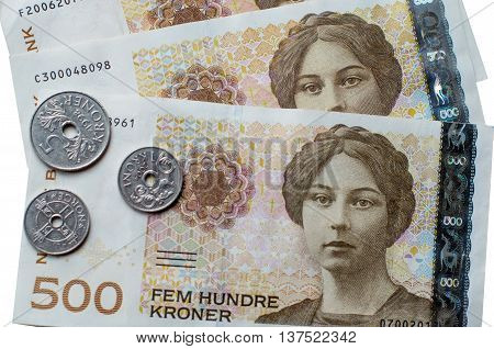 Norwegian 500 crones paper banknotes on white background