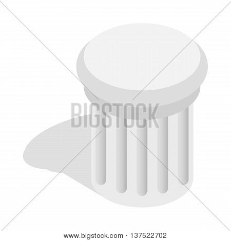 Classical column architecture element icon in isometric 3d style isolated on white background