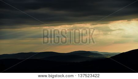 Sunset in evening in Jeseniky mountains near cable car