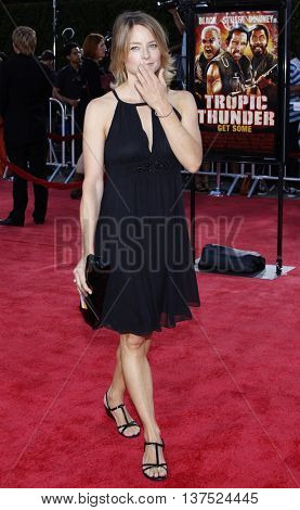 Jodie Foster at the Los Angeles premiere of 'Tropic Thunder' held at the Mann Village Theater in Westwood, USA on August 11, 2008.