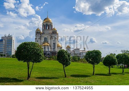 YEKATERINBURG RUSSIA - AUGUST 17 2013. The Church on Blood in Honour of All Saints Resplendent in the Russian Land in Yekaterinburg Russia. The church commemorates the Romanov sainthood.