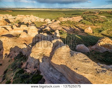 Sandstone formation at Sand Creek National Natural Landmark, Albany County, Wyoming -aerial view