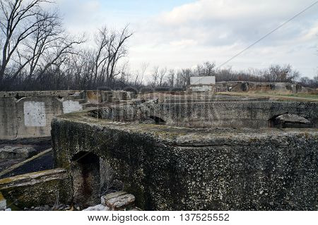 Remains of the old Joliet Iron Works, at the Forest Preserve District of Will County's Joliet Iron Works Historic Site in Joliet, Illinois.