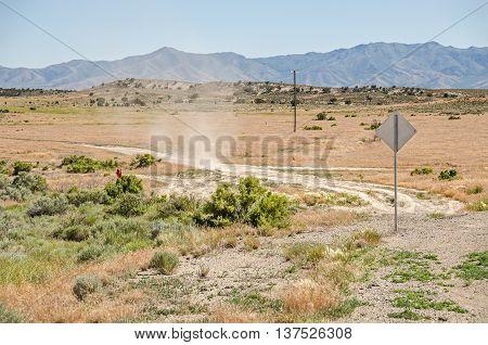 Small dust devil in a rural area of Utah