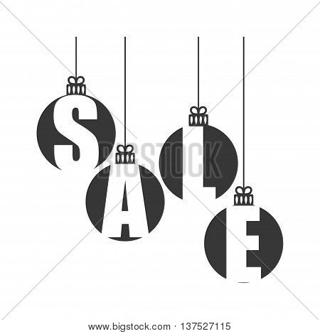 Merry Christmas concept represented by sphere and  sale icon. isolated and flat illustration