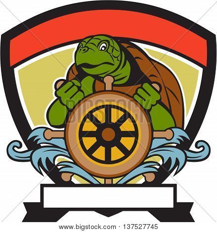 Illustration of a ridley turtle at the helm sterring wheel viewed from front set inside crest shield done in retro style.