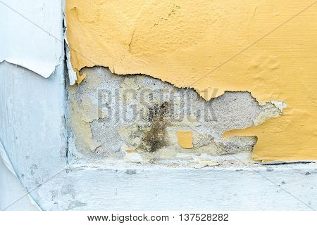 Yellow Erode Painted Concrete Wall,grunge Rough Texture Background