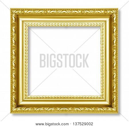 The gold frame on the white background.