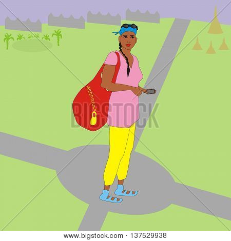 Illustration of a modern tourist girl with a bag and a navigator standing at a crossroads, and she thinking which way to go