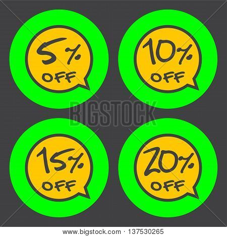 Sale discount labels. Special offer price signs. 5 10 15 and 20 percent off reduction symbols.