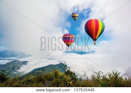 Colorful hot-air balloons flying over the mountain at Pha TungChiangrai province North of Thailand.