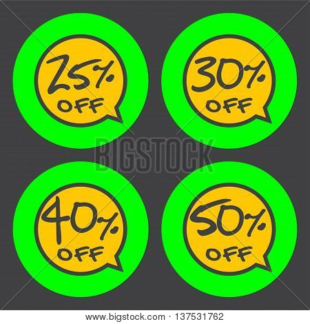 Sale discount labels. Special offer price signs. 25 30 40 and 50 percent off reduction symbols.