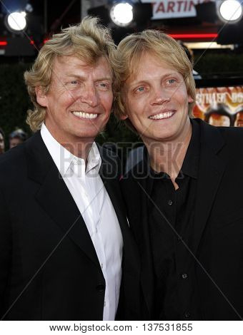 Nigel Lythgoe and son Simon Lythgoe at the Los Angeles premiere of 'Tropic Thunder' held at the Mann Village Theater in Westwood, USA on August 11, 2008.