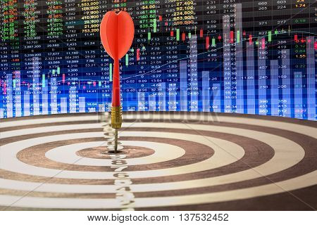 target dart with target arrows on the stock market background and dartboard is the target and goal abstract background to target marketing or target arrow or target business concept .