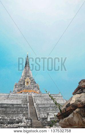 White Buddhist Stupa Wat Phu Khao Thong in Ayutthaya Thailand