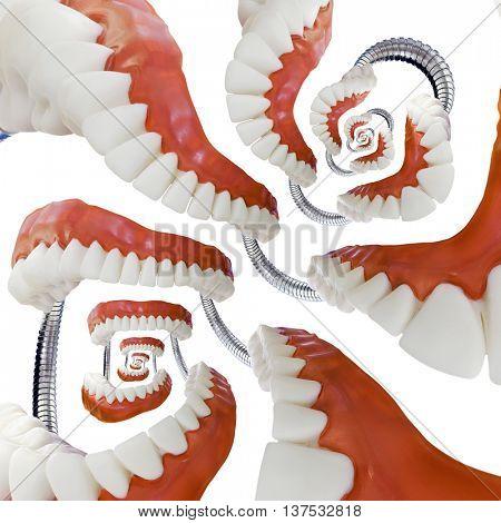 Abstract Denture Model Droste Swirl Effect