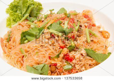 Spicy noodle salad spicy vermicelli salad (yum woon sen).