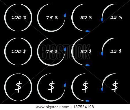 Timer or counter of per cent and dollars conceptual illustration business and finance elements. Countdown icons collection isolated over black background