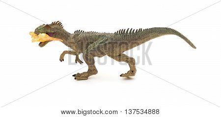 grey allosaurus toy catching a smaller disonaur on white background