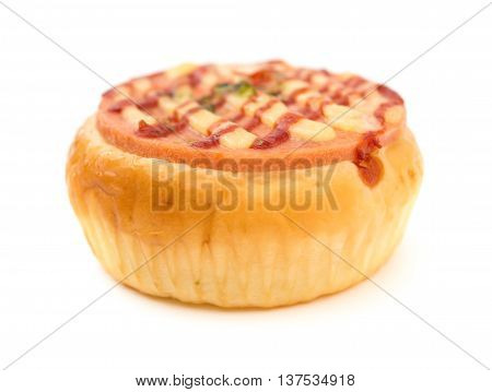 side view bread with BBQ pork on top on a white background