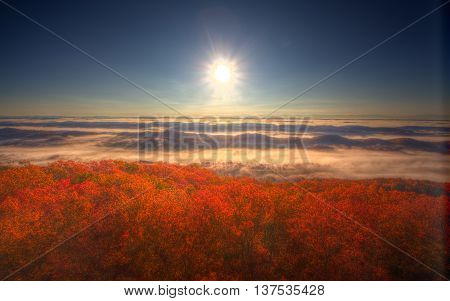 View of mountains, forest, sky, and autumn colors in the mountains of Tennessee