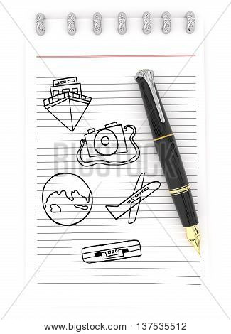 3D Notepad And A Pen , Ship , Camera , Earth Aeroplane , Briefcase Drawing On Paper Concept
