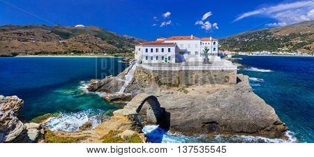 most beautiful Greek islands series  -Andros, view of Chora. Cyclades