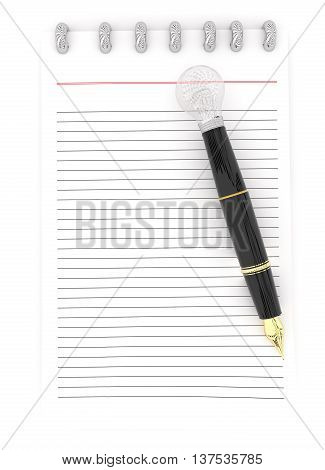 3D Notepad And A Pen , The Pen Representing As A Visualizing Pen Concept