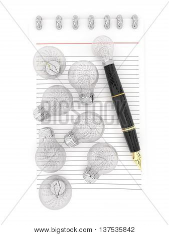 3D Notepad And A Pen , With Lot Of Bulbs Scattered Inside Paper , The Pen Representing As A Visualiz