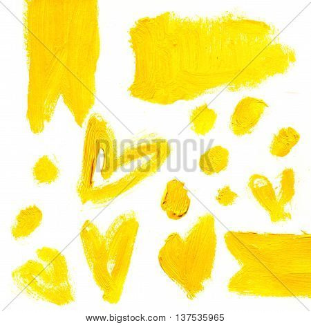 Set of yellow acrylic abstract hand paintedstains and backgrounds. Isolated on white background.