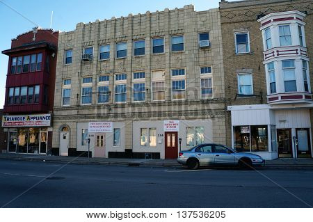 JOLIET, ILLINOIS / UNITED STATES - NOVEMBER 1, 2015: The True Harvest House of Prayer Ministries offers worship services in downtown Joliet