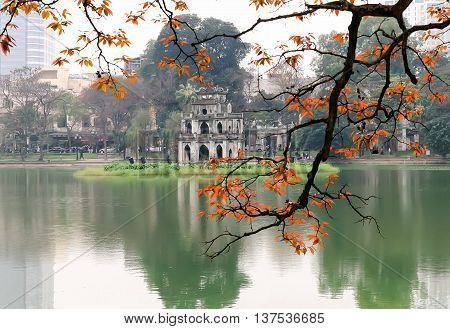 HA NOI, VIET NAM, February 8, 2016 eagle foliage, fall, at Turtle Tower, Hoan Kiem Lake, the center Ha Noi, Vietnam