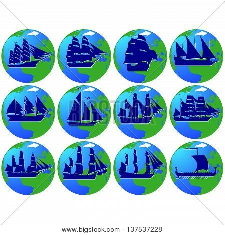 Set of vintage sailing ships in the background of the planet Earth. The illustration on a white background.