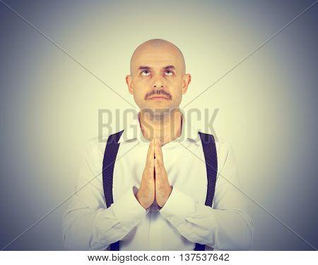 Bald Man Praying,imploring, Hands Clasped Hoping Of Miracle
