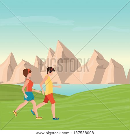 Man and Woman Jogging Together on mountain view background Running Man and Woman Outdoor Jogging Couple healthy lifestyle conceptual vector illustration.