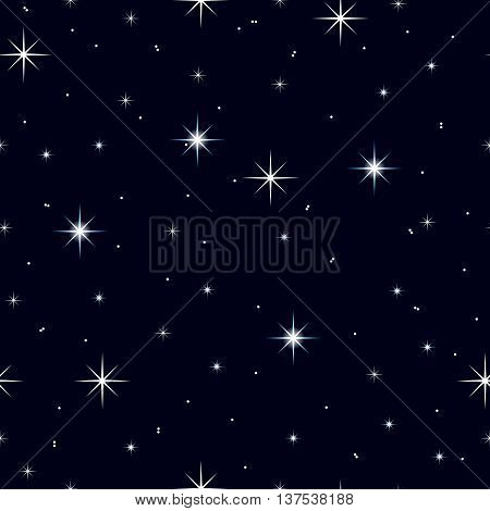 Celestial seamless background with multiple sparkling stars glittering on a dark blue sky in the night