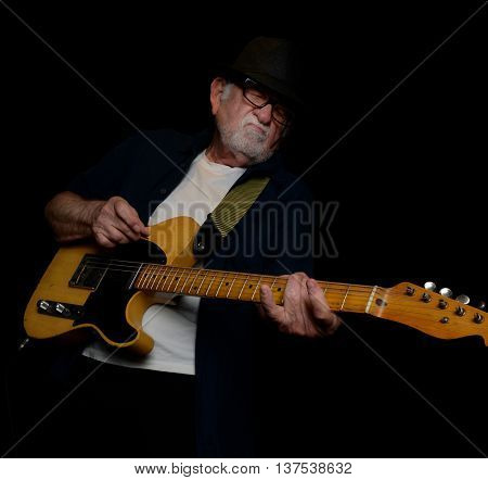 June 21 2016 Los Angeles California Great shot of a senior rock Musician Playing  a solo