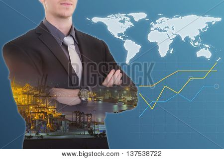 Double exposure of a businessman and Container Cargo freight ship with working crane bridge in shipyard at dusk for Logistic Import Export background