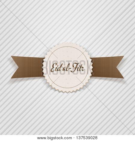 Eid al-Fitr decorative paper Emblem. Vector Illustration