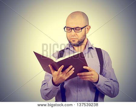 Man Caucasian Professor Reading Book
